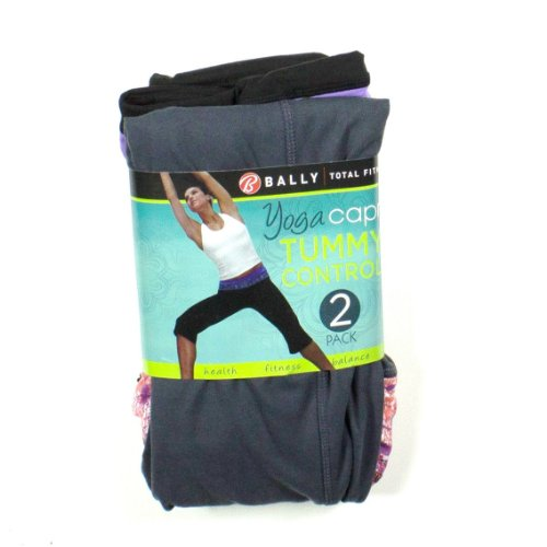 d309b23e57ad4 womens bally total fitness yoga capri 2 pk x small black purple