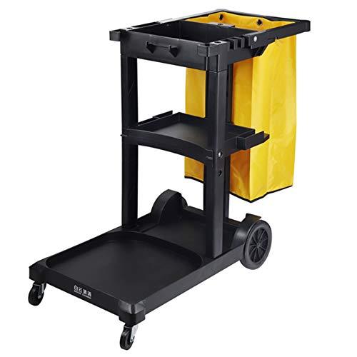 ZAQI Commerciële Schoonmakende Karretje Kar met Zak, 3 Plank Schoonmaken Rolling Janitor Cart, Janitorial Cart…