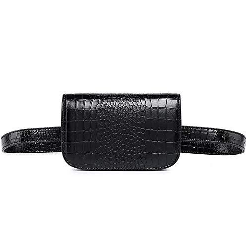 Women Waist Packs Travel Elegant Leather Waist Bag Phone Pouch Belts Fanny Pack Bag (Crocodile skin black)