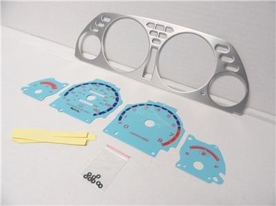 1990-1993 Acura Integra Automatic Aluminum Bezel & Glow Through Blue Face Gauges