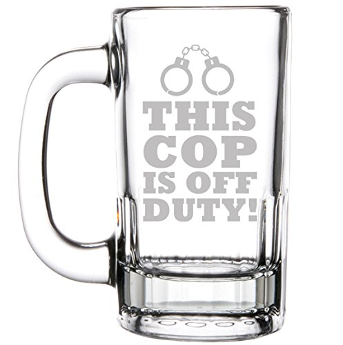 12oz Beer Mug Stein Glass Funny Police Sheriff Trooper Retirement This Cop Is Off Duty]()