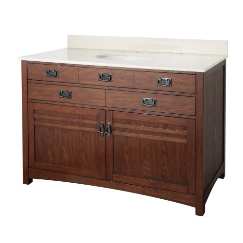 Foremost Cherry Vanity - Foremost CRCVT4922 Cornell 48-Inch Bathroom Vanity with Engineered Stone Top, Cherry