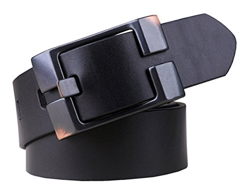 Capplue Casual Square Pin Buckle Mens Belts Full Grain Leather Belt Black Belt ()