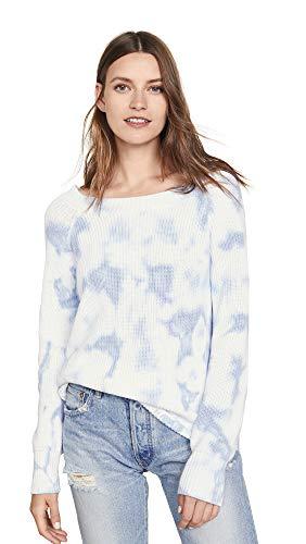 525 America Cotton Sweater - 525 America Women's Tie Dye Shaker Sweater, Blue Mist, Medium
