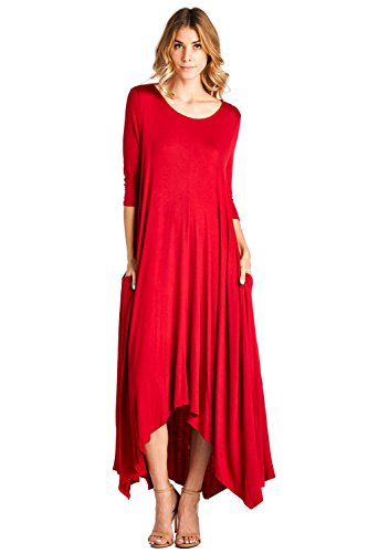 12-ami-solid-3-4-sleeve-pocket-loose-maxi-dress-red-1x