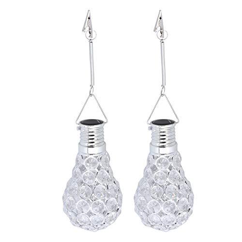 (OSALADI 2PCS LED Solar Power Light Bulb Low-Voltage Energy-Saving Decorative Suspension Bulb(White))
