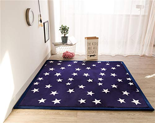 Navy Blue Star Printed Carpet Rug for Baby Boys Girls Infant Toddler, Foam Play Crawling Rug Modern Rugs for Living Room, Playroom, Classroom, Nursery and Dormitor Thickness:2CM, 79 by 118 Inch (Blue Rug Star)