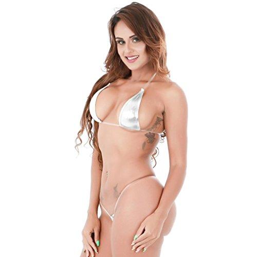 Bikini-Set, OVERMAL Damen Dessous-Sets PU-Leder Nachthemd Nachtkleid Nachtwäsche Bra Strap Unterwäsche Dessous Negligees Push Up Bra + G-string Silber