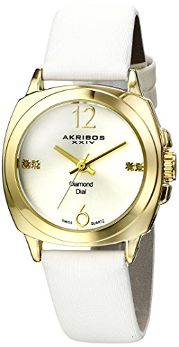 Akribos XXIV Women's AK742YGW Swiss Quartz Movement Watch with Silver Sunburst Effect Dial and White Satin over Nubuck Leather Strap