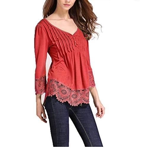 pissure Creux Tshirts Shirts Rouge Longues Femme Plier T Manches Elgante Manche Printemps Dentelle Uni Top Casual Shirt Jeune Irrgulier Fille Mode Mode Classique V Cou P0xXP