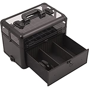 SUNRISE Nail Case on Wheels 2 in 1 I31064 Professional Organizer, 54 Bottle Capacity, 6 Trays, 4 Wheel Spinner, Locking with Mirror and Shoulder Strap, Black Matte