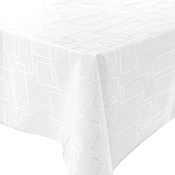 LEEVAN Wipe Clean Heavy Weight Stylish Geometry Pattern White Table Cover  Spill Proof Water