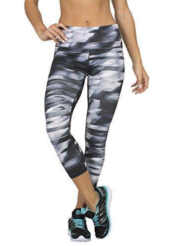 RBX Active Women's Streak Striped Printed Capri Leggings,Black Lumen,Large