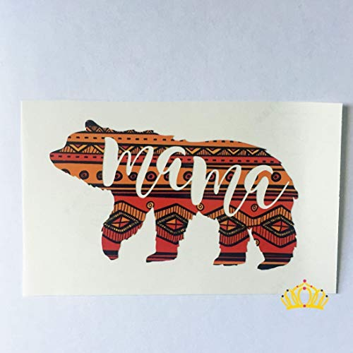 Mom Decal Sticker - Mama Bear Decal, Mom Decal for Car, Tumbler, Laptop, or Cup- Aztec Pattern, 3 inches x 5 inches