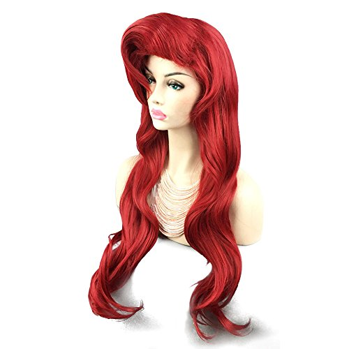 Curly Wavy Wine Red Women Hair Party Little Mermaid Ariel Cosplay Wig 28