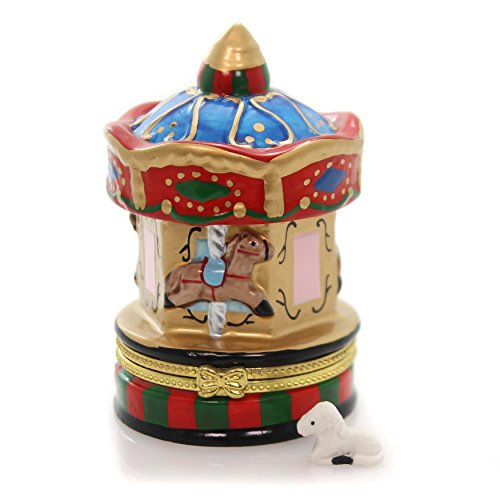 (Art Gifts Carousel with Horses Merry Go Round Miniature Porcelain Trinket Box)