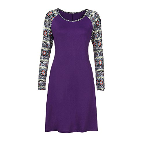 LandFox Flapper Dress,Dress for Women, Casual Geometry Printed Long Sleeve O-Neck Loose Knee-Length Dress Purple -