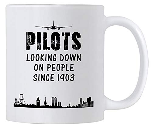 Casitika Airplane Pilot Gifts. Funny 11 oz White Ceramic Novelty Mug For Pilots Looking Down on People Since 1903. Great Gift Idea for Your Men/Women Boss.