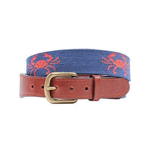 Coral Needlepoint - Coral Crab Needlepoint Belt by Smathers & Branson