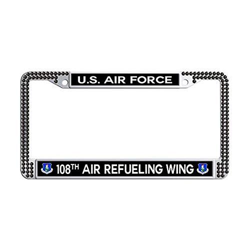 - US Air Force 108th Air Refueling Wing License Plate Frame,Black Rhinestones Car Plate Frame