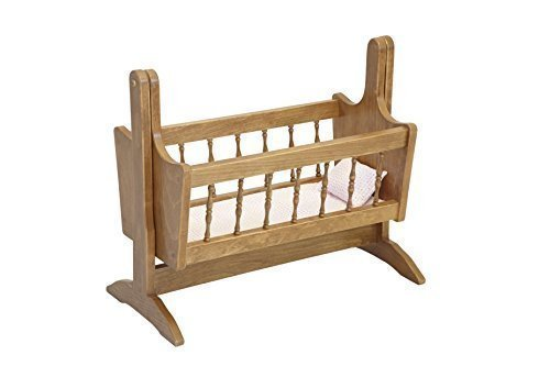 Amish-Made Wooden Deluxe Doll Swinging Cradle, Natural Harvest (Toy 3 Piece Cradle Bedding)