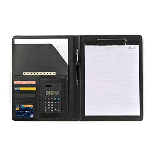(Hypeteck PU Leather Padfolio- Business Portfolio Folder Resume Document Organizer Multiple Function Folder Business Folder Office Organizer with Calculator Note Paper Pen)
