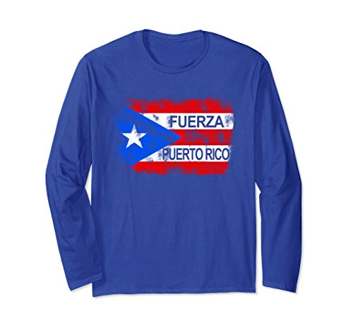Puerto Rico Flag Dress (Unisex Fuerza T-Shirt Support Strong Puerto Rico Unisex Top Tee Medium Royal Blue)