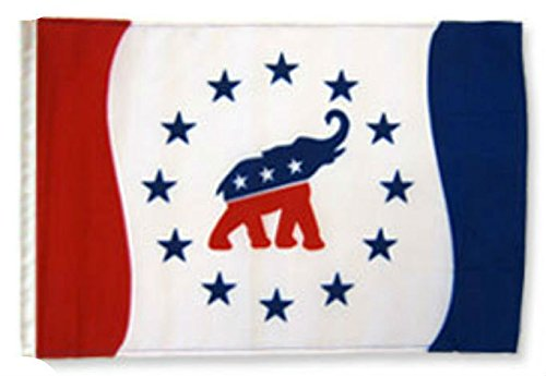 ALBATROS 12 inch x 18 inch Republican Party Political Elephant Sleeve Flag for use on Boat, Car, Garden for Home and Parades, Official Party, All Weather Indoors Outdoors ()