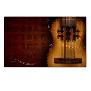 American Instruments Acoustic Guitars Notes Table Mats Customized Made to Order Support Ready 28 6/16 Inch (720mm) X 17 11/16 Inch (450mm) X 1/8 Inch (4mm) High Quality Eco Friendly Cloth with Neoprene Rubber MSD Deskmat Desktop Mousepad Laptop Mousepads Comfortable Computer Place Play Mat Cute Gaming Mouse pads
