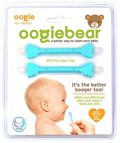 Oogiebear - The Safe Baby Nasal Booger and Ear Cleaner - Baby Shower Gift and Registry Essential Snot Removal Tool (Blublu, Two Pack)