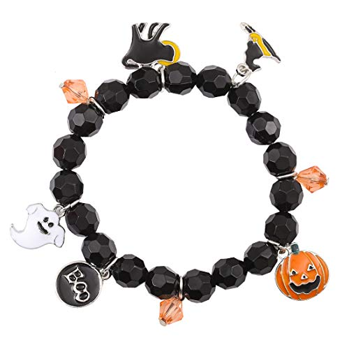 ALEXY Halloween Bracelets Ghost Pumpkin Switch Charm Bracelets Gifts Stretch Beaded Bracelets Women Girls (Black) ()