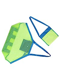 Portable Beach Mesh Tote Bag (2pack) Large &Small Sturdy Toy Bags Shell,Toys,Towels, Groceries Sand Can Ideal for Beach, Pool,Boat