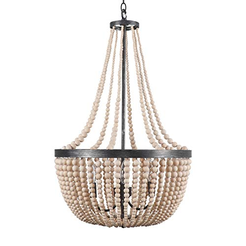 Modern Wood Bead Chandelier Ceiling Fixtures 4-Light Vintage Wooden Beaded Chandeliers Kitchen Island Ceiling Pendant Hanging Lamp Light Fixtures, Natural Color (Wood Light Pendant Bead)