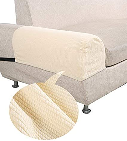 PUTING Non-Slip Stretchy Sofa Armrest Covers for Armchairs, Loveseats and Sofas, Beige