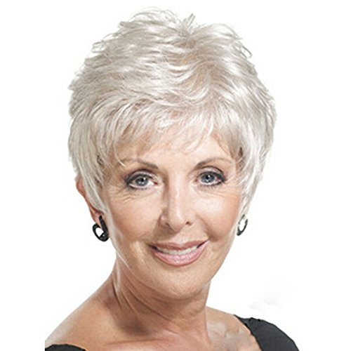 QianBaiHui short Wigs for white women - Old Women Fashion Wig Heat Resistant Synthetic Hair Full Wig + Wig Cap (White)