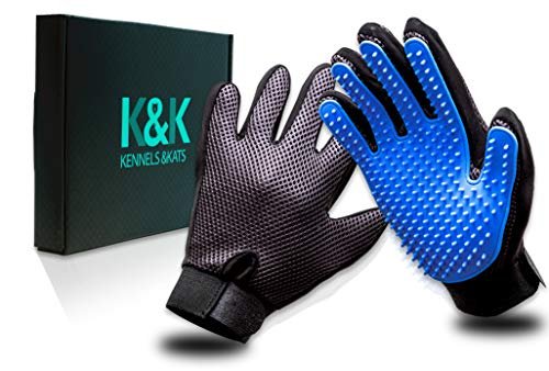 [Premium]K&K Pet Grooming Glove Set. Deshedding glove for easy, mess-free grooming of Dogs, Cats, Rabbits and Horses with Long/Short/Curly fur. 1 Pair Gentle,Pet Hair Remover Mitt & Storage Bag