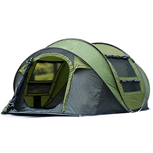 Outdoor 3-4persons Automatic Speed Open Throwing pop up Windproof Waterproof Beach Camping Tent Large Space,Army Green