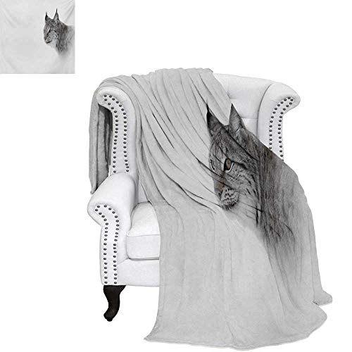warmfamily Hunting Summer Quilt Comforter Lynx in The Central Norway Wild Cat North Cold Snowy Mountain Carnivore Predator Digital Printing Blanket 60