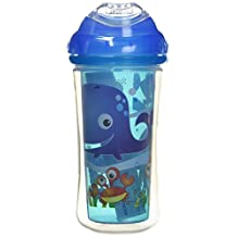 Nuby 531018SS Clik-It Insulated Sea Plus Safari No-Spill Cool Sipper for 18 Month Plus Children(2 Pack), 9 oz(270ml), Blue, Yellow