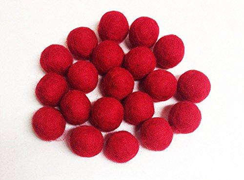Yarn Place Felt Wool Felted Balls 100pcs (25 mm, Red)