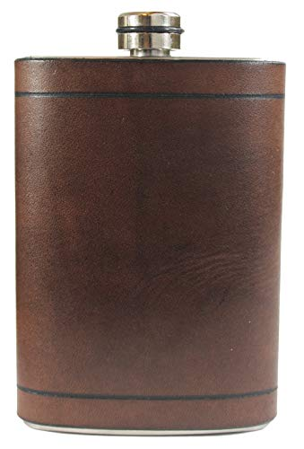 Primo Liquor Flasks Genuine Dark Walnut Leather Hip Flask