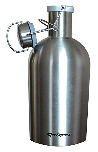 Beer Growler 67 oz Stainless Steel & Secure Lid Fresh with Swing Top Lid By MakExpress