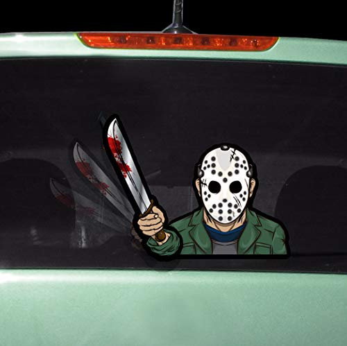 WiperTags Masked Machete Killer with Decal attaches to Rear Vehicle Wiper -