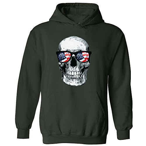 Amazing Items Skull With American Flag Sunglasses For Halloween And Day Of The Dead Unisex's Hoodie, 3X-Large, Forest - American Story Horror Glasses