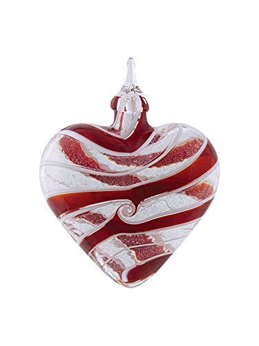 (Red Swirl Sparkle Heart Hand Blown Iridescent Glass Christmas Tree Ornament)