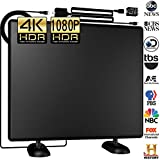 DeveSouth 120+Miles Indoor Ultra Amplifier HDTV Antenna High Reception Antenna for TV Signals Digital TV Antenna Directional for 4K VHF Uhf 1080P Amplified Channels Free Gain 16ft Cable