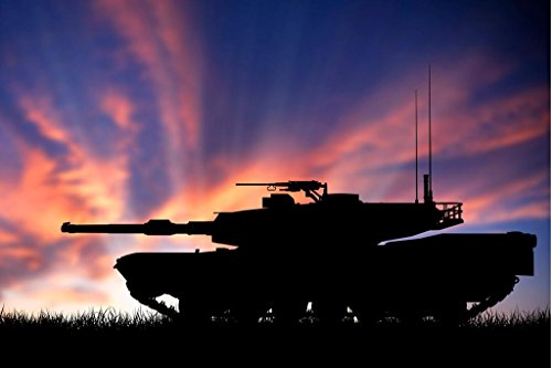 Armored Military Tank At Sunset Silhouette Photo Art Print P