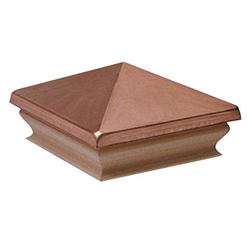 Woodway Copper Pyramid 4x4 Post Cap - Premium Cedar Wood Base Post Cap, Newel Post Top 4 x 4, Fits Up To 3.5 x 3.5 Inch Post, 1PC ()