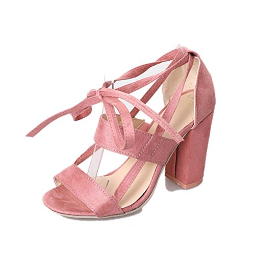 Women's Girls Dress Sandal,[Ankle Strap Kitten Heel Shoes] Lace-up Cross Strappy High Heels Open Toe Formal, Wedding, Party [Simple Classic ] (Pink, 38(US:6.5)) by Aurorax