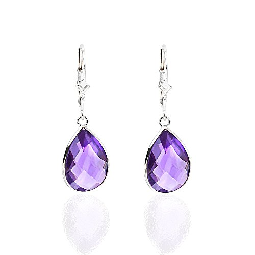 14K White Gold Handmade Gemstone Earrings With Dangling Pear Shape Amethyst by amazinite